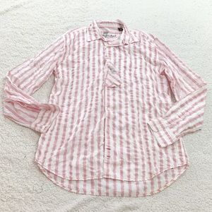 7 fam pink plaid button down collared shirt